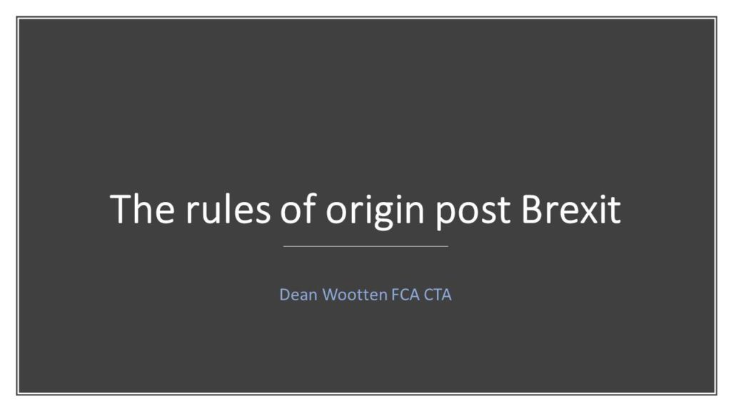 Introduction to the new origin rules